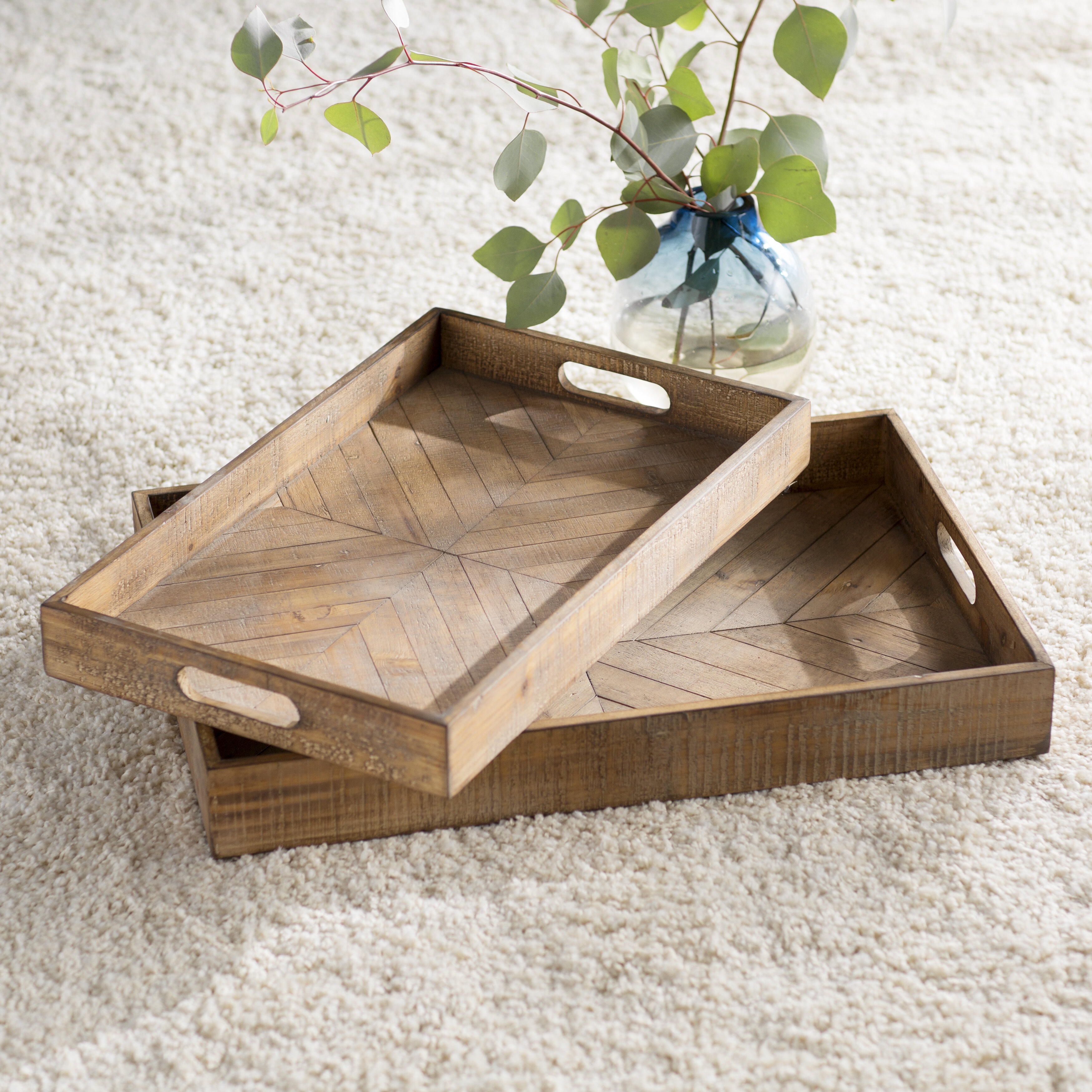 Mercury Row Dundalk Geometric Wood Accent 2 Piece Serving Tray Set Reviews Wayfair