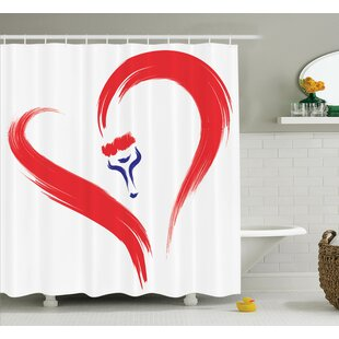Love Brush Drawing Heart Sign Shower Curtain Set