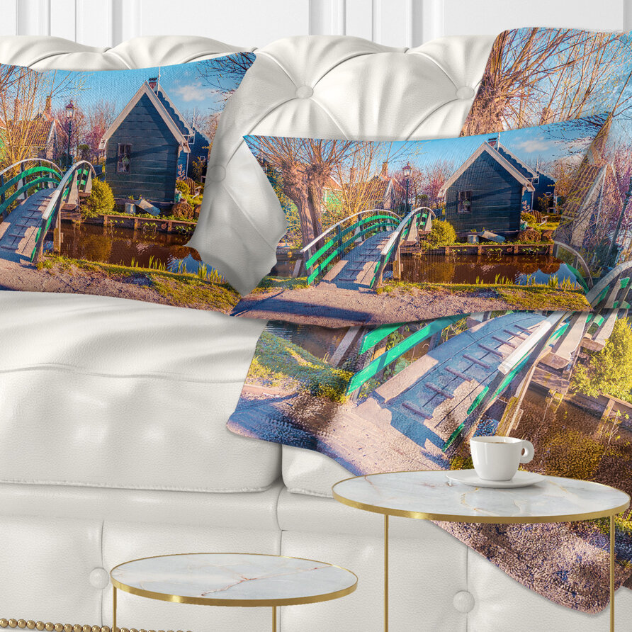 East Urban Home Landscape Printed Dutch Buildings In Zaanstad Village Lumbar Pillow Wayfair
