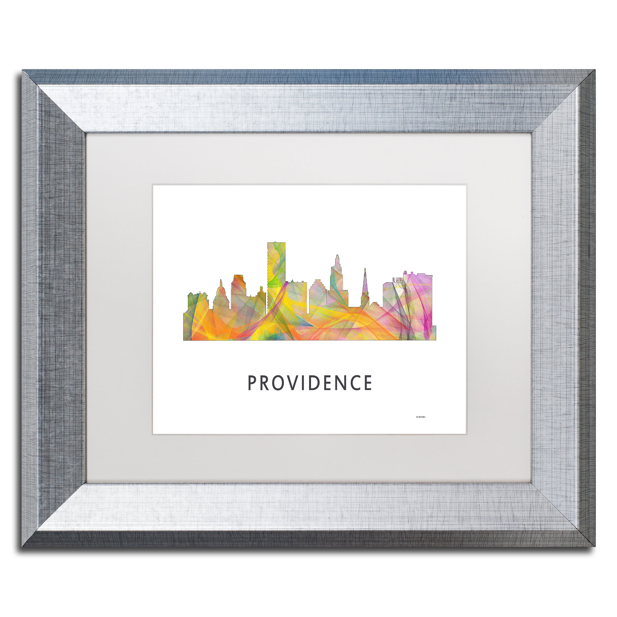 Trademark Art Providence Ri Skyline Wb 1 By Marlene Watson Framed Graphic Art Wayfair