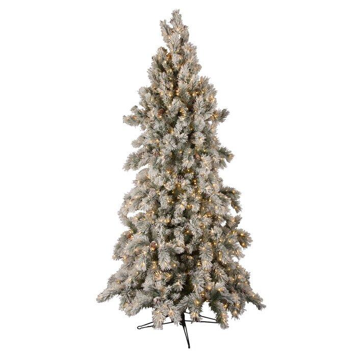 Slim Flocked Christmas Tree With Lights.Slim Snowy Power Pole Green Flocked White Pine Artificial Christmas Tree With Clear Lights