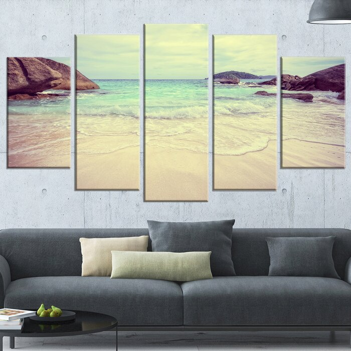 DesignArt \'Vintage Style Seashore Thailand\' 5 Piece Wall Art on ...