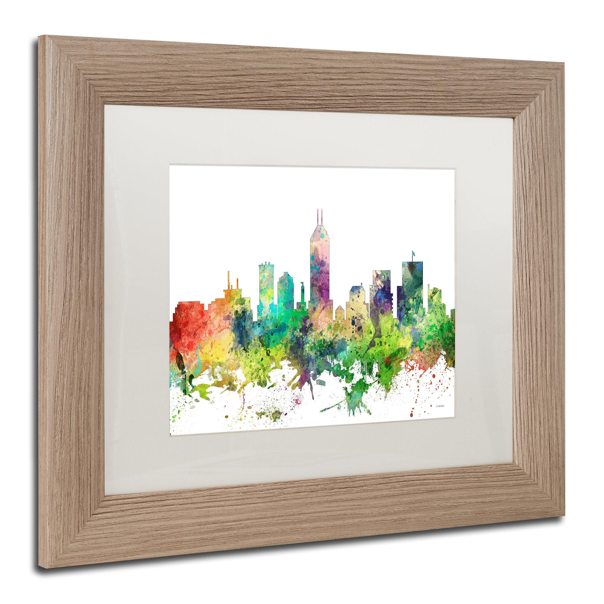 Trademark Art Indianapolis Indiana Skyline Sp Framed Graphic Art On Canvas Wayfair