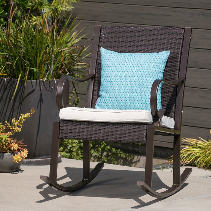 Super Kampmann Outdoor Wicker Rocking Chair With Cushions Download Free Architecture Designs Rallybritishbridgeorg