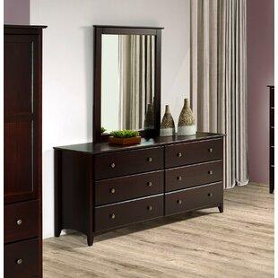 Faringdon 6 Drawer Double Dresser with Mirror