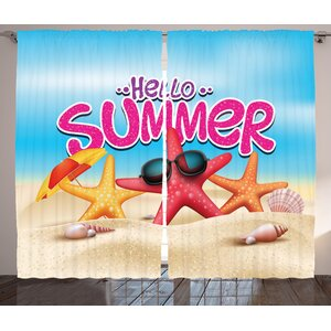Lifestyle Hello Summer Inspirational Beach Holiday Quote With Starfish Shell Humor Design Graphic Print Text Semi Sheer Rod Pocket Curtain Panels Set Of