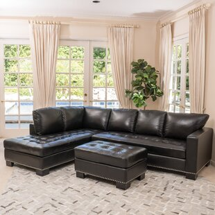 Reviews Coleford Leather Sectional By Canora Grey