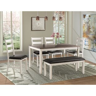 Mavis 6 Piece Solid Wood Dining Set Alcott Hill