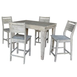 Gamboa Solid Wood Counter Height 5 Piece Pub Table Set Gracie Oaks