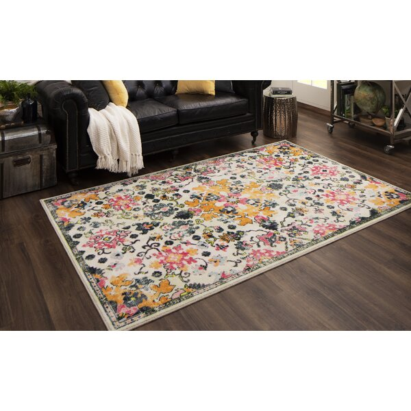 Bungalow Rose Prasanna Tufted Yellow Pink Green Rug Reviews Wayfair