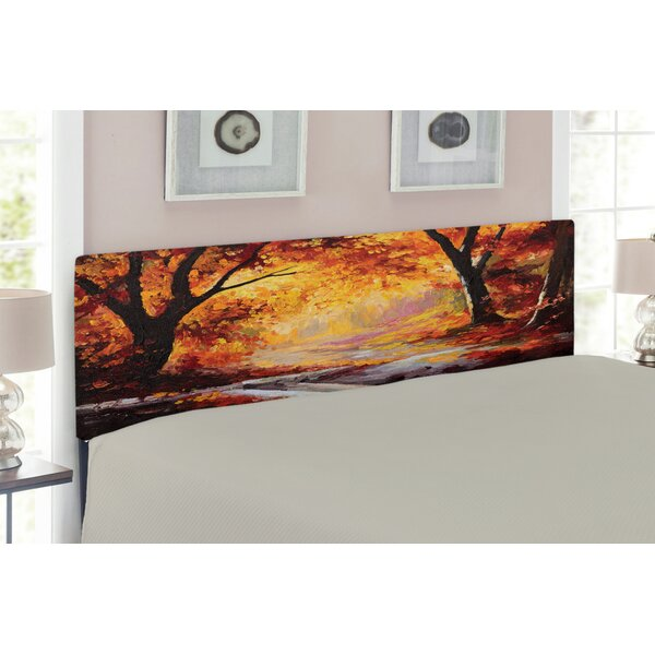 Paint of a Forest with Autumn Leaves Upholstered Panel Headboard by East Urban Home