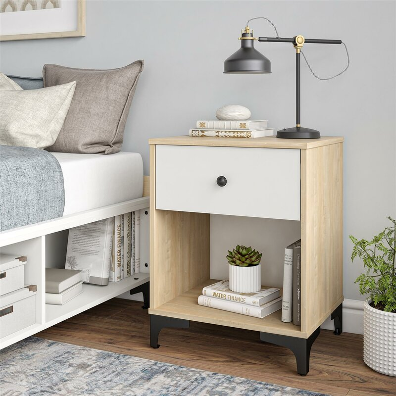 Yellow Karan 1 Drawer Nightstand by Isabelle & Max