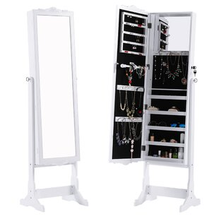 Red Barrel Studio Hosmer Free Standing Jewelry Armoire with Mirror