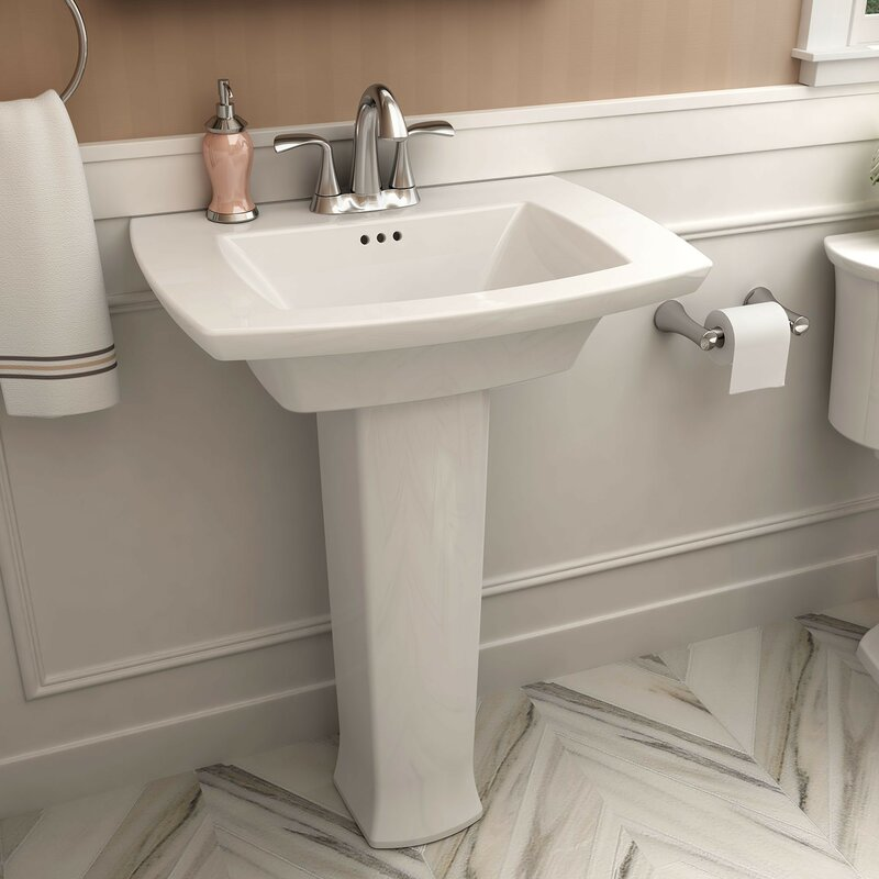 American Standard Edgemere 29 3 Tall White Ceramic Rectangular Pedestal Bathroom Sink With Overflow Reviews Wayfair