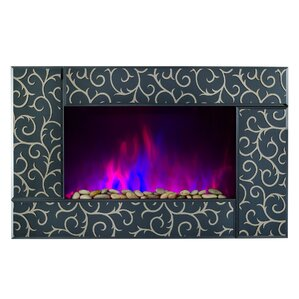 Pebble and Log Interchangeable Wall Mount Electric Fireplace by AKDY