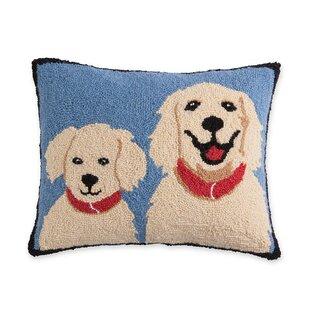 Hooked Wool Golden Retrievers Lumbar Pillow