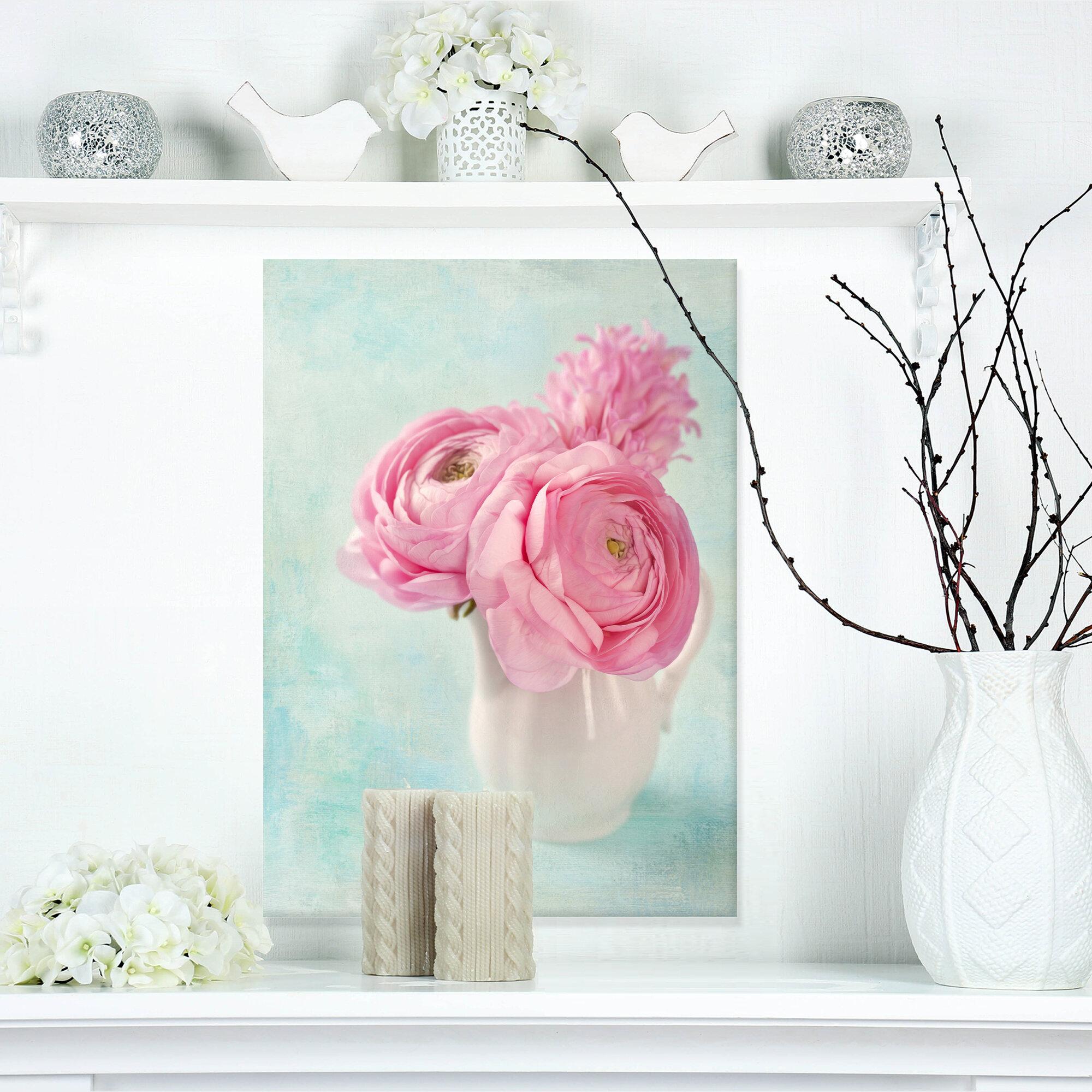 Designart Pink Ranunculus Flowers In Vase Painting Print On Wrapped Canvas Wayfair