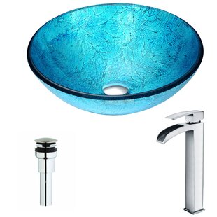 ANZZI Accent Glass Circular Vessel Bathroom Sink with Faucet