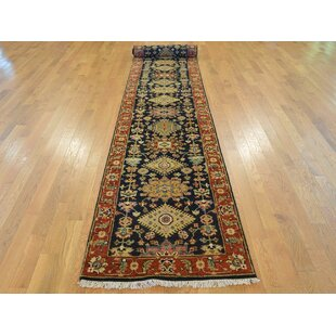 One-of-a-Kind Blairwood Antiqued Karajeh Hand-Knotted Black Wool Area Rug Isabelline