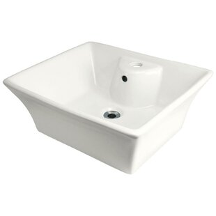 MR Direct Vitreous China Rectangular Vessel Bathroom Sink with Overflow