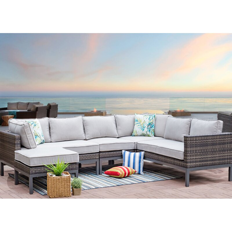 Beau Brayden Studio Anderson Outdoor 5 Piece Wicker Sectional Seating Group With  Cushions | Wayfair