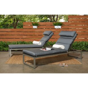 Gary Reclining Chaise Lounge with Cushion (Set of 2)