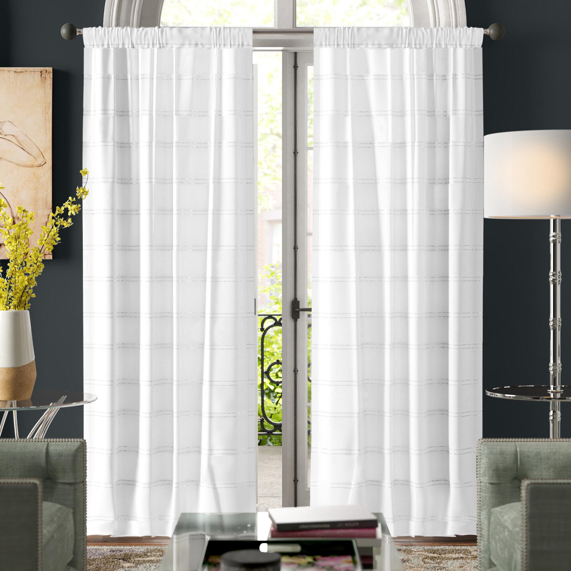 Stiles Pole Top Striped Room Darkening Thermal Rod Pocket Curtain Panels Reviews Joss Main