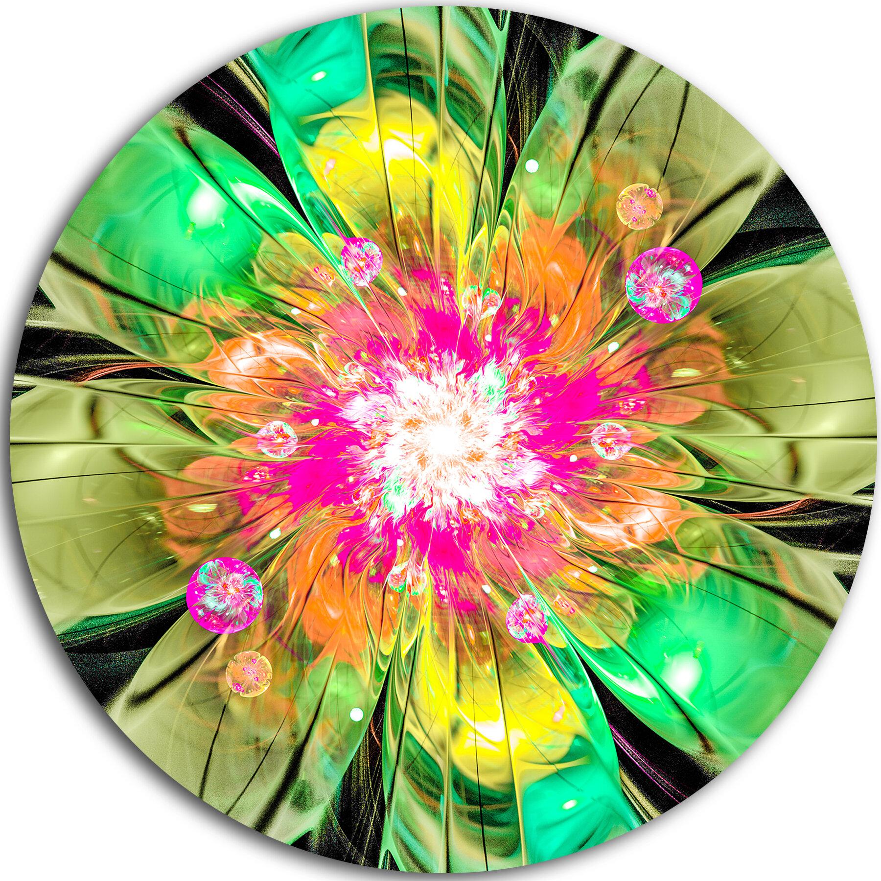 Designart Green Fractal Flower Petals Close Up Graphic Art Print On Metal Wayfair
