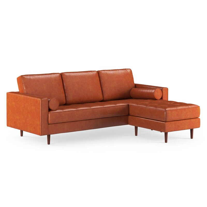 Fantastic Ainslee Leather Reversible Modular Sectional With Ottoman Ncnpc Chair Design For Home Ncnpcorg