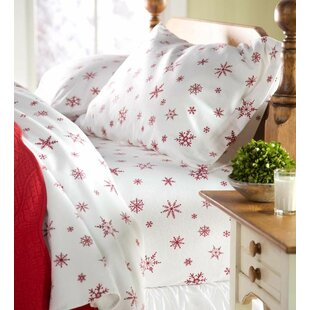 Plow & Hearth Full Crystal Snowflake Cotton Flannel Sheet Set
