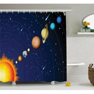 Justyn Solar System with Sun Single Shower Curtain