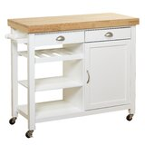 Nathaly Kitchen Cart with Wood Top by Breakwater Bay