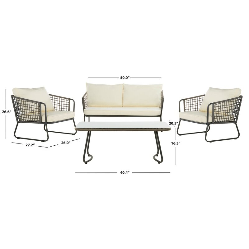 Bryana 4 Piece Rattan Sofa Seating Group With Cushions Reviews