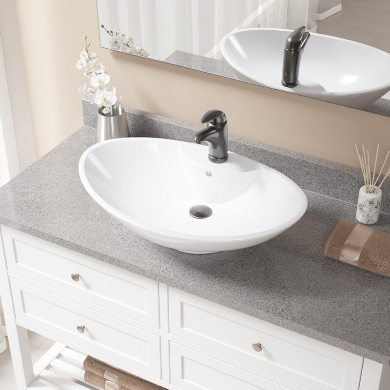 Mrdirect Vitreous China Oval Vessel Bathroom Sink With Faucet And Overflow Reviews Wayfair
