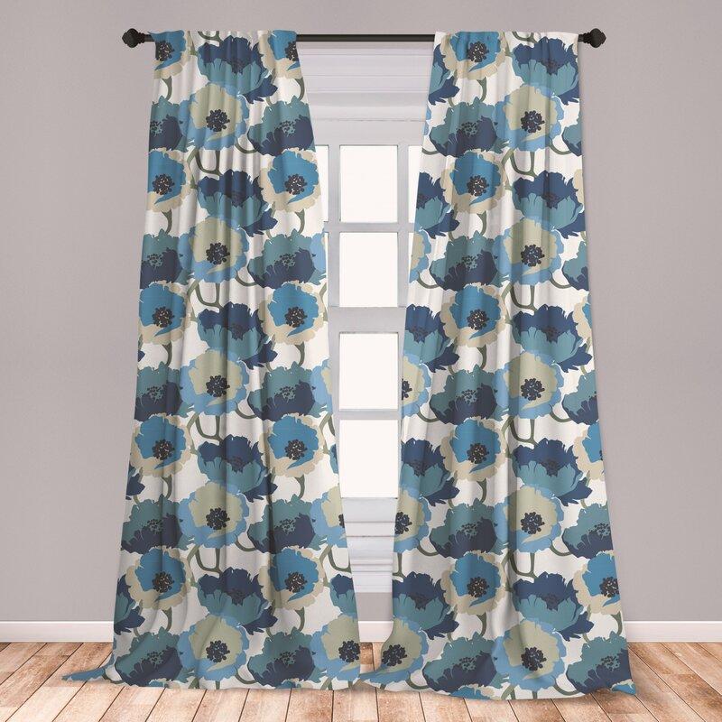 East Urban Home Floral Room Darkening Rod Pocket Curtain Panels Reviews Wayfair