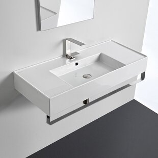 Affordable Price Ceramic 40'' Wall Mounted Bathroom Sink with Overflow ByScarabeo by Nameeks