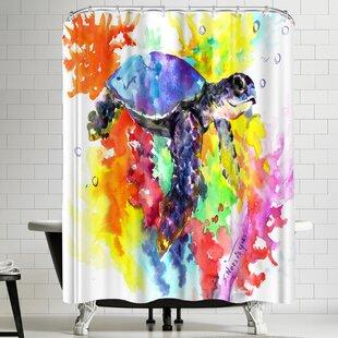 Suren Nersisyan Coral Reef Sea Turtle II Single Shower Curtain