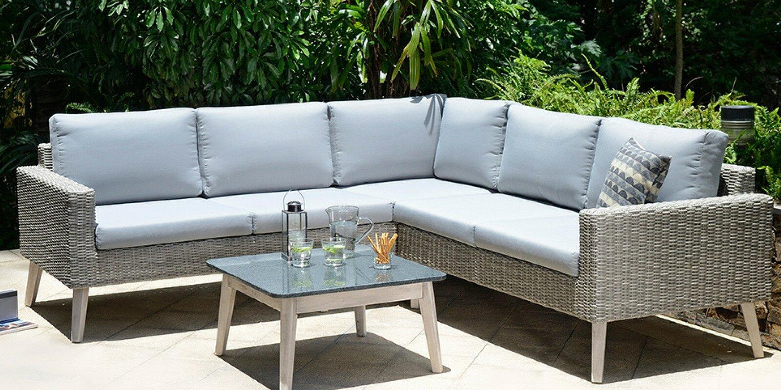Dayne 6 Seater Rattan Corner Sofa Set With Cushions