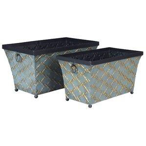 saunders 2 piece link metal storage bin set