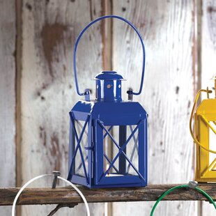 Iron and Glass Lantern with Handle by Bungalow Rose