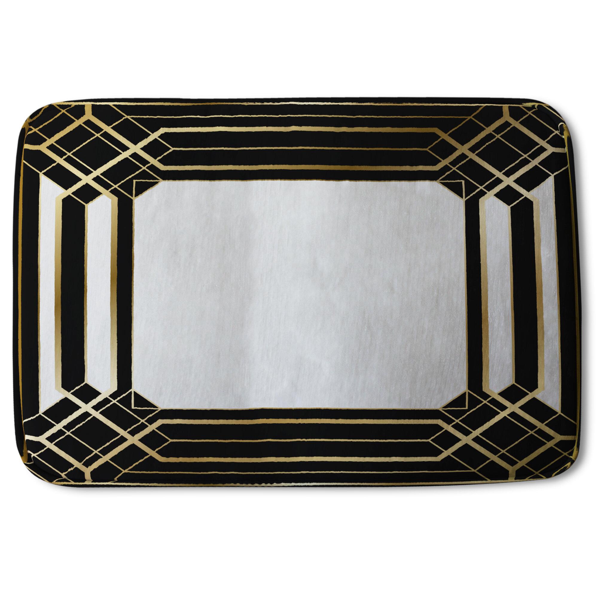 Everly Quinn Mathais Art Deco Frame Designer Rectangle Non Slip Bath Rug