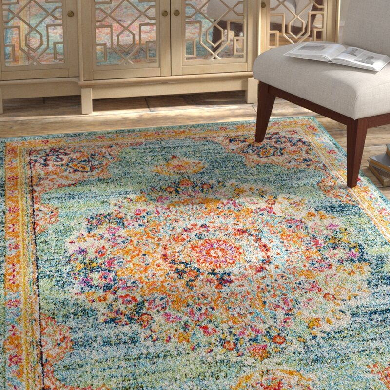 Bungalow Rose Amanah Blue Yellow Area Rug Reviews Wayfair