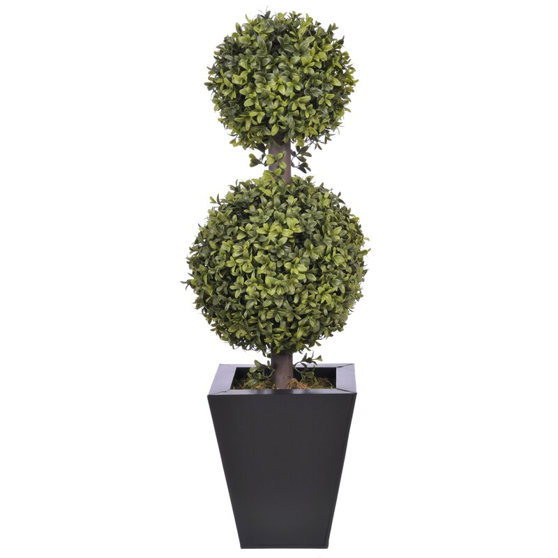 Langley Street  Artificial Double Ball Floor Boxwood Topiary in Planter Pot Size: 9 H, Base Color: Black Zinc