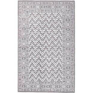 Great Price One-of-a-Kind Shannen Hand-Knotted Dark Gray/White Area Rug By Isabelline
