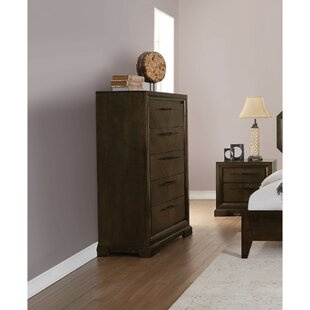 Cherri Transitional Style Wood and Metal 5 Drawer Chest