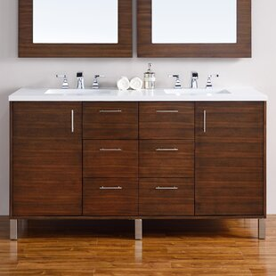 Cordie Modern 60 Double American Walnut Bathroom Vanity Set by Orren Ellis