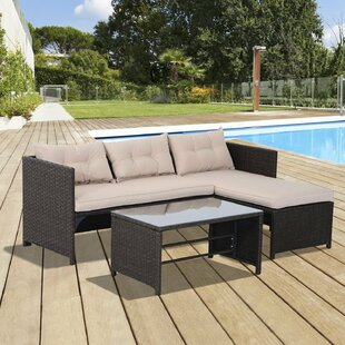 Jamaica Avenue 3 Piece Rattan Sectional Seating Group With Cushions