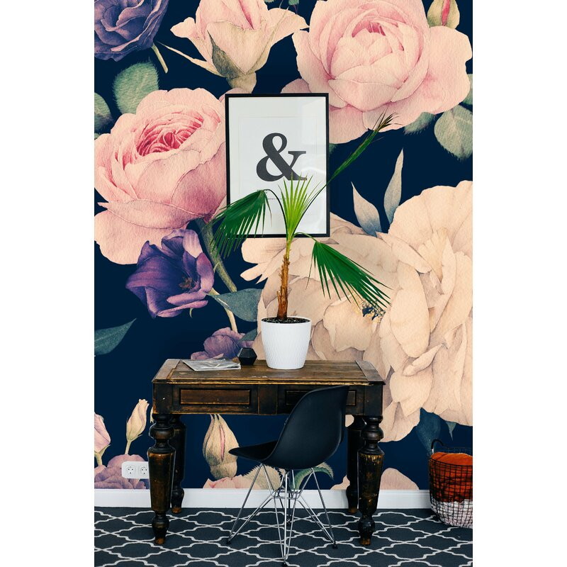 Bungalow Rose Paulding Removable Watercolor Large Floral Dark 6 25 L X 75 W Peel And Stick Wallpaper Roll Wayfair