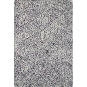 Divernon Hand-Woven Wool Charcoal/Purple Area Rug