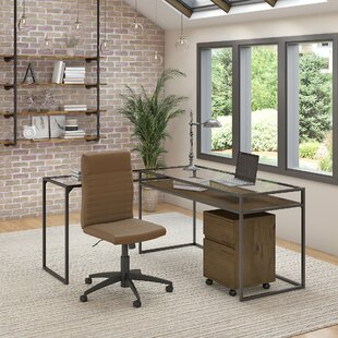 Alcantar Glass Top L Shaped Desk with Chair Set